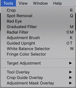 a screenshot showing how to check tools on Lightroom