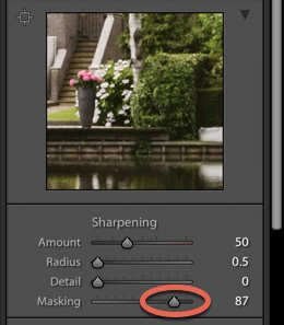 a screenshot showing how to sharpen images in lightroom