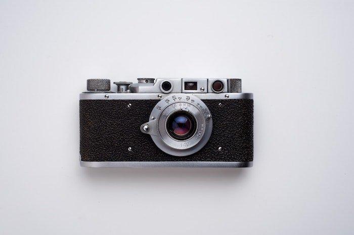 a vintage camera on white background