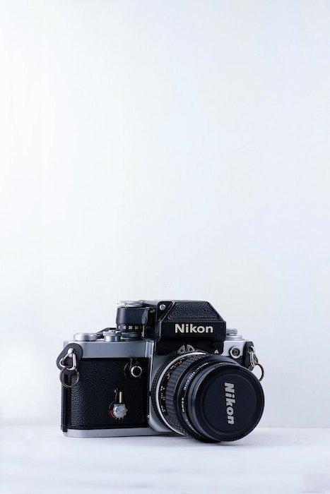 A Nikon camera with a prime lens