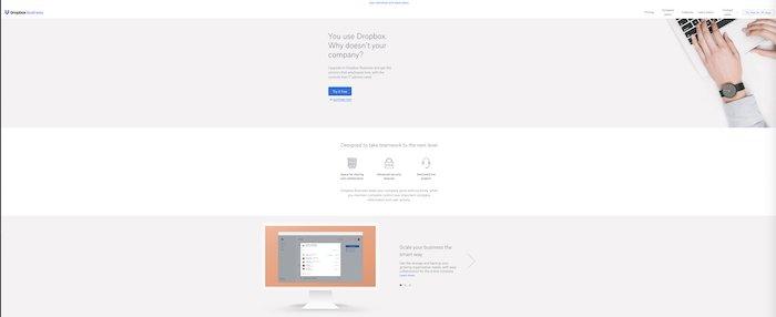 screenshot of the Dropbox website