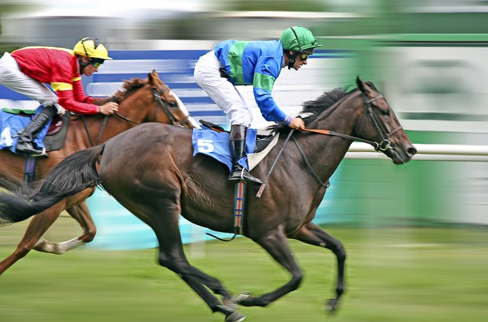 two jockeys on horses during a race