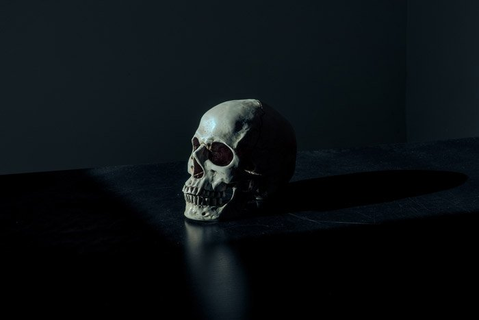 atmospheric photo of a human skull on black background - symbolism in photography