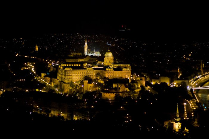 Stunning view of Buda Castle at night