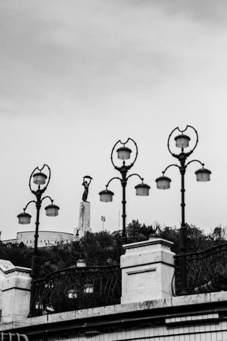 black and white shot of Gellért Hill - best photography spots in Budapest