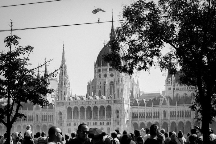 black and white shot of budapest parliament building