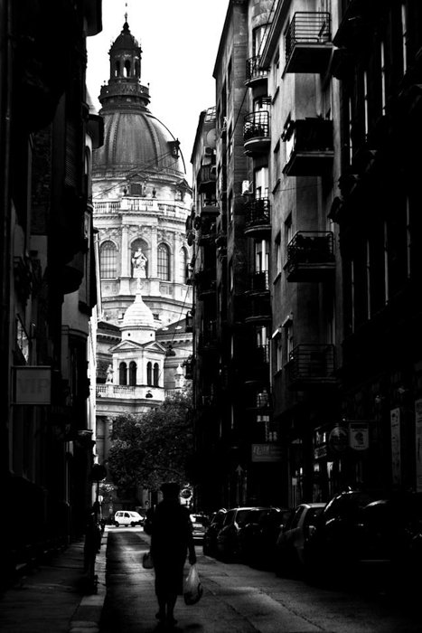 black and white street view of St. Stephen's Square and Basilica in Budapest