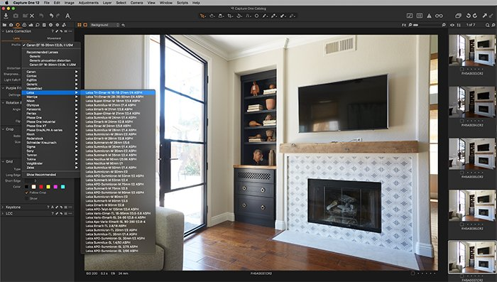 Screenshot of Capture One lens profiles