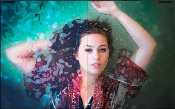 Portrait of a woman party underwater with two different lightroom presets on each side