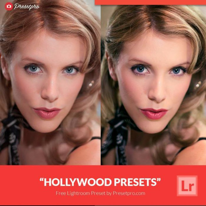 The same portrait photo of a woman in original and in hollywood collection lightroom preset