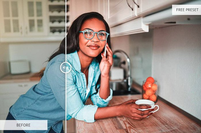 A spliscreen photo of a woman holding a coffee on the kitchen counter showing before and after editing with orange and teal preset amber