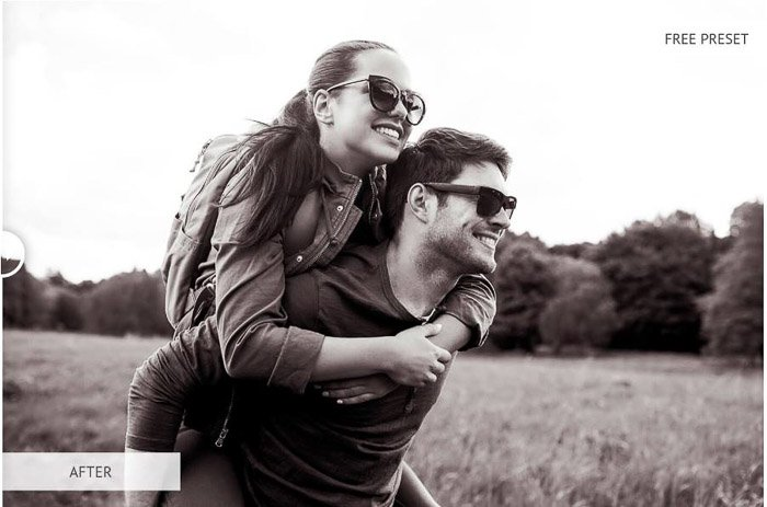 Photo of a man and a woman in a field black & white bundle presets