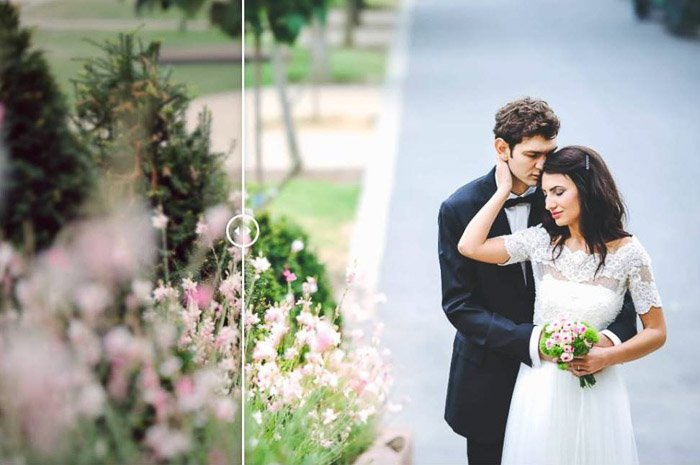 A wedding photo of a bride with the groom hugging her from behind, edited with elegant wedding free Lightroom preset