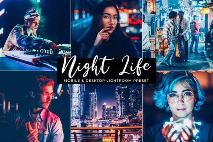A montage of portraits in an urban environment edited with night life lightroom portrait presets