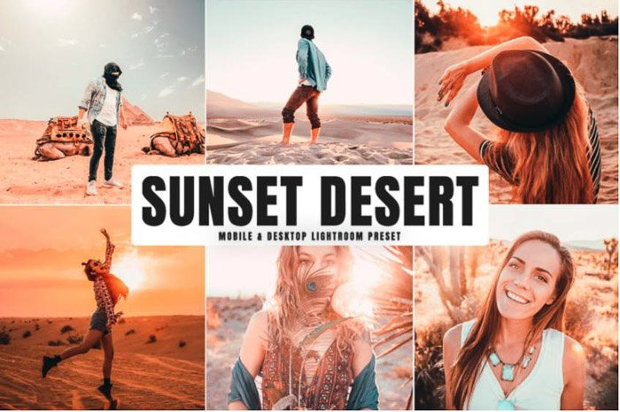 A montage of photos of people in the desert, sunset desert preset
