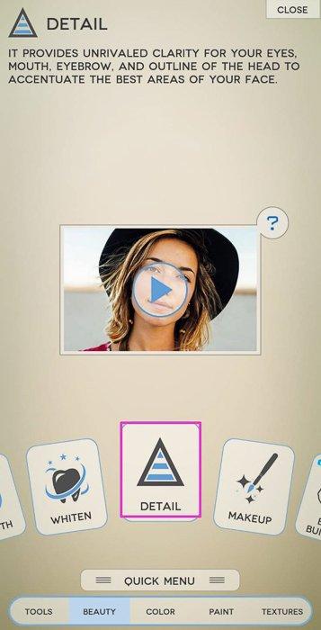 Screenshot of photo editing app Fotogenic
