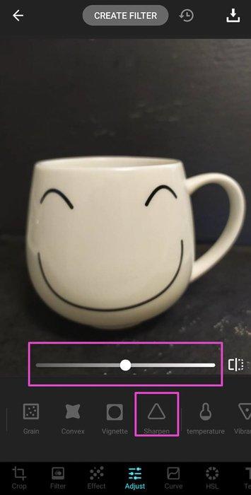 Screenshot of photo editing app Lumii