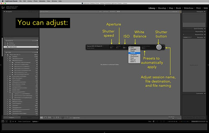 Illustrative screenshot of setting that can be adjusted remotely in Lightroom