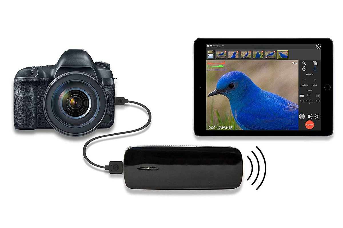 Illustrative photo of tethering - a camera, a wireless equipment, and a tablet