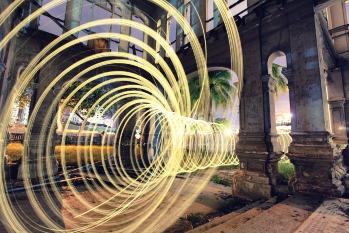 Photo with the use of light painting technique inside an abandoned building