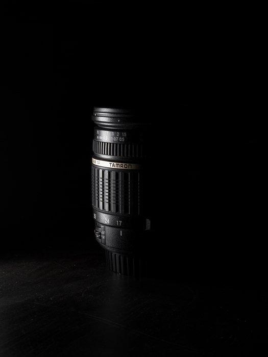 Shadowy photo of a Tamron lens highlighting Tamron lens abbreviations