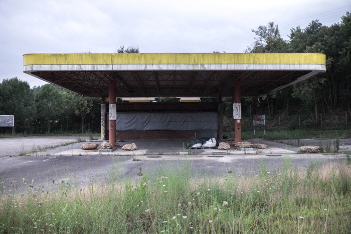 Photo of an abandoned gas station