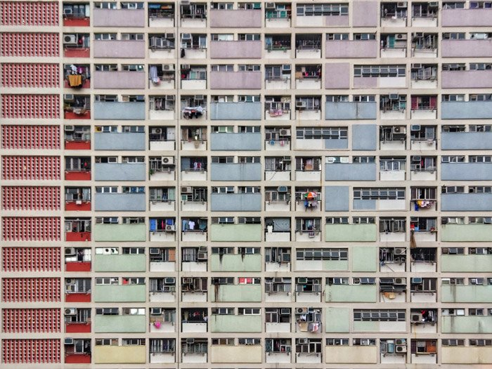 Photo of a block of flats in different colors