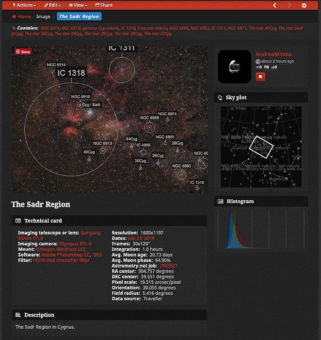 A screenshot of the AstroBin website