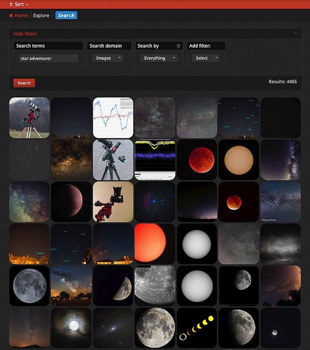 A screenshot of the AstroBin website interface