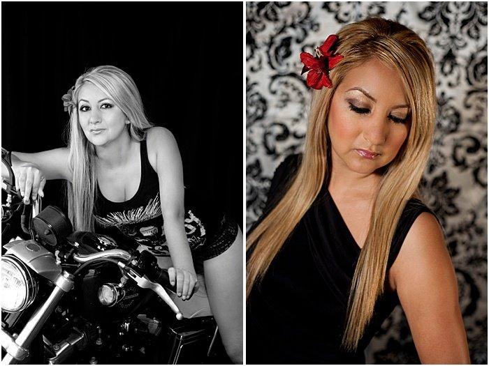 Boudoir portrait photos of a woman on a motorbike
