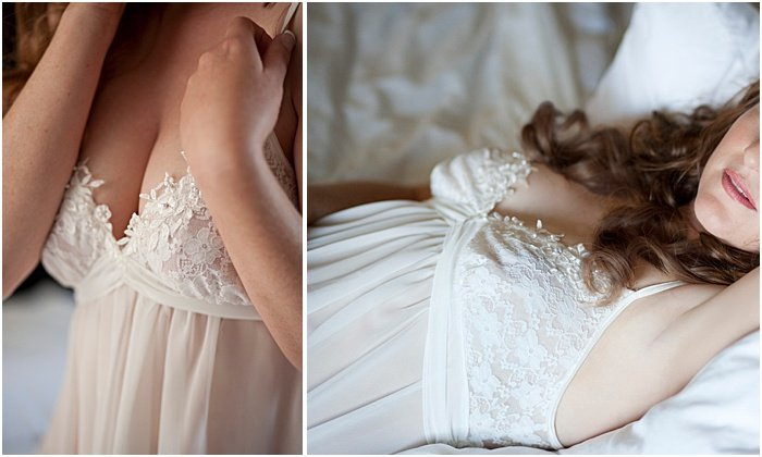 Boudoir photos of a woman in a white nightgown