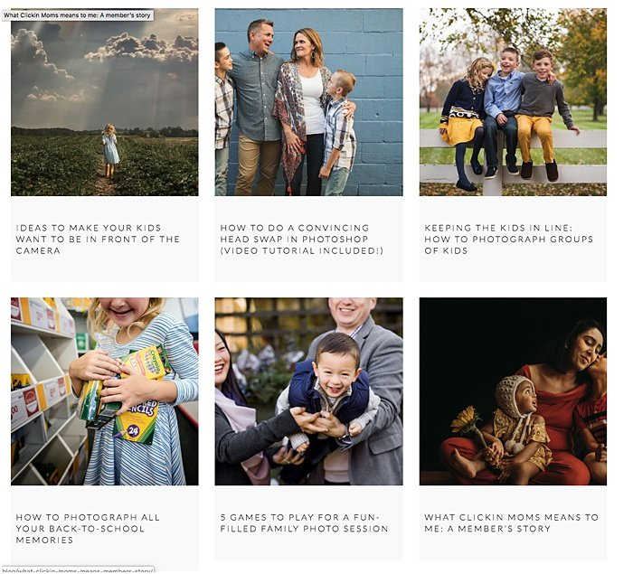 Screenshot of the family photography blog Clickin' moms