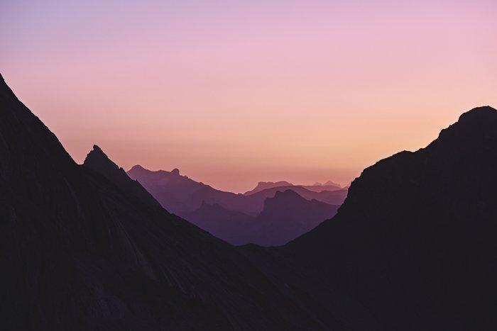 a beautiful mountainous landscape at sunset
