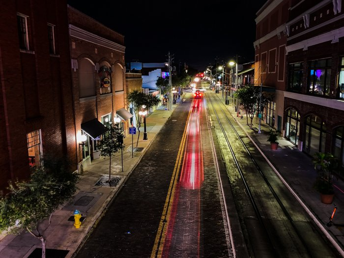 Nighttime long exposure photo of an empty street