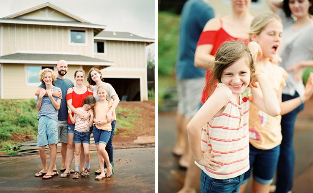 Photo montage of a family in front of a house