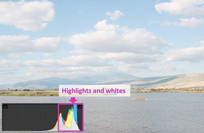 a coastal landscape and lightroom histogram showing highlights and whites