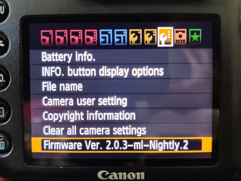 Magic Lantern settings on a Canon DSLR settings screen