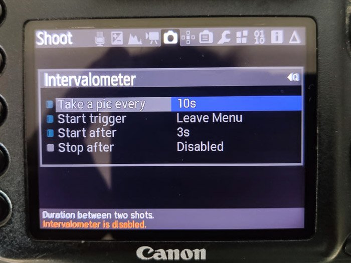 Magic Lantern intervalometer settings on the Canon DSLR screen