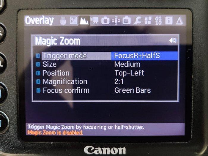 Magic Lantern 'Magic Zoom' settings on the Canon DSLR screen