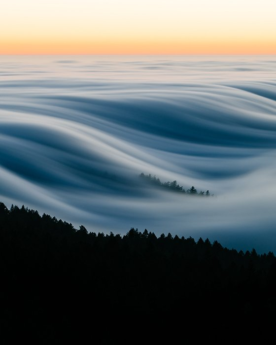 Motion blur photo of the movement of fog