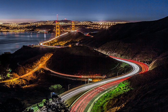 Motion blur photo of the traffic in San Francisco