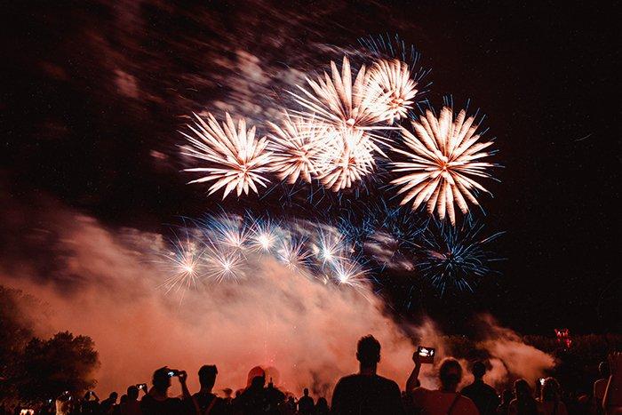 Motion blur photo of fireworks