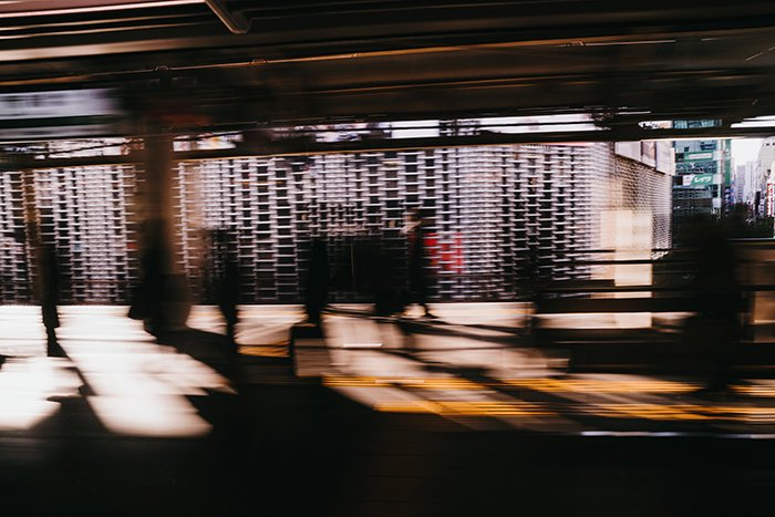Motion blut photo of a railway station