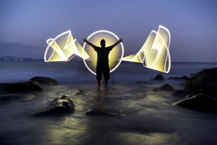 Photo taken with light painting photography effect