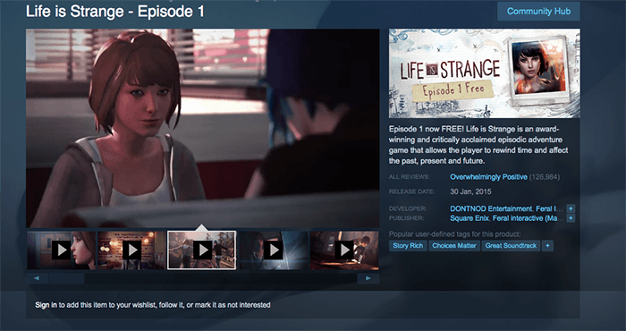 a screenshot from 'Life is Strange' photography games