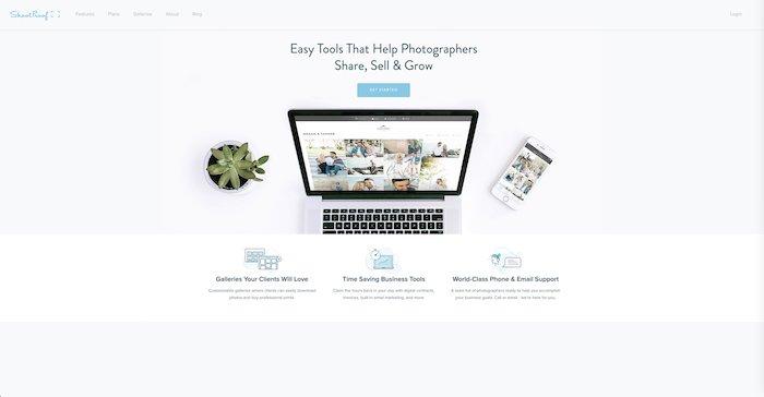 A screenshot of Shootproof website homepage