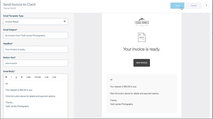 A screenshot how to create contracts and invoices on the Shootproof website
