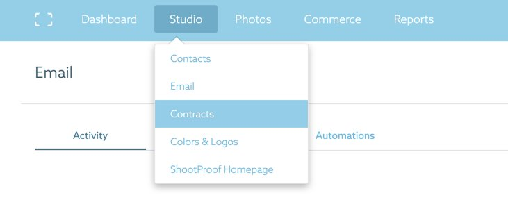 A screenshot of Shootproof website homepage - contracts