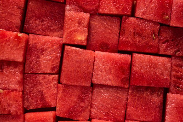 Macro photo of red watermelon cubes