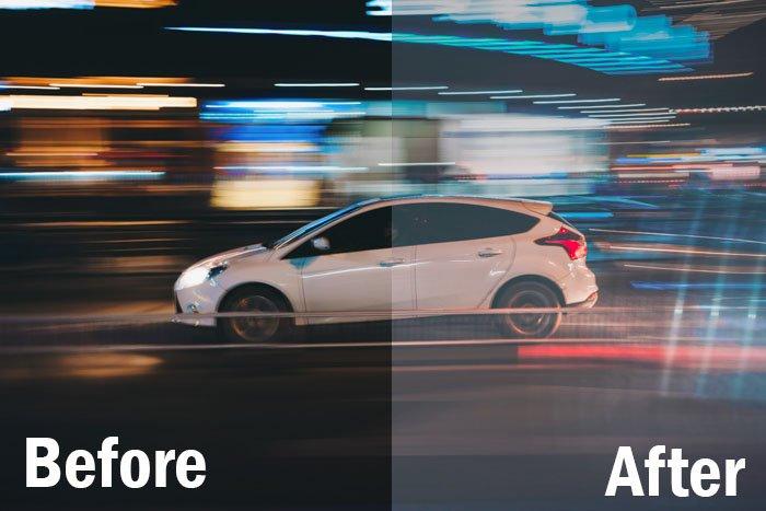 Ação de carro em alta velocidade filmada à noite, tela dividida exibida antes e depois da edição com predefinições de esportes do Lightroom